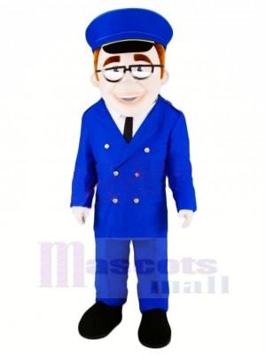 Haute Qualité Dispatcher dans Bleu Mascotte Costume Gens