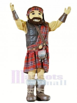 Heureux Highlander Avec Kilt Mascotte Costume Dessin animé