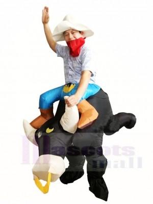 Cow-boy Balade sur Noir Taureau Gonflable Les costumes pour Adulte