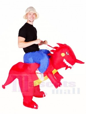 Balade Sur rouge Dinosaure avec klaxon T-rex Gonflable Halloween Noël Les costumes pour Adultes