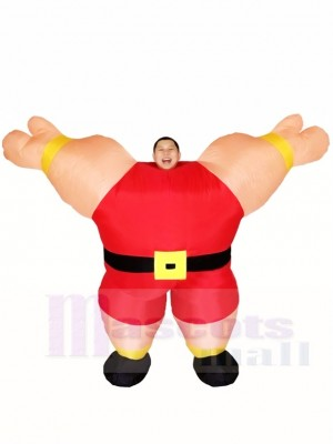 rouge Haltérophile Poids Levage Gonflable Halloween Noël Les costumes pour Adultes