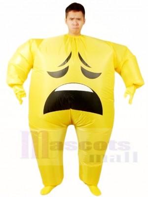 Emoji Anxieux Gonflable Halloween Noël Coup en haut Les costumes pour Adultes