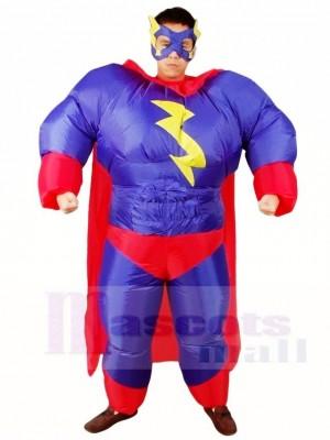 Graisse Superman Violet Super héros Gonflable Halloween Noël Les costumes pour Adultes