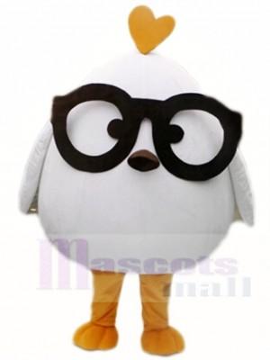 blanc poulet avec Noir Des lunettes Mascotte Les costumes la volaille Animal