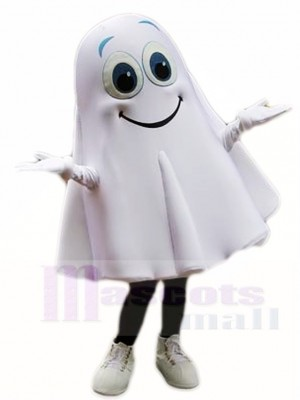 Souriant blanc Fantôme Esprit Mascotte Les costumes Halloween