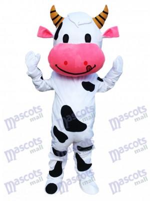 Cartoon de costume de mascotte de vache oreille rose