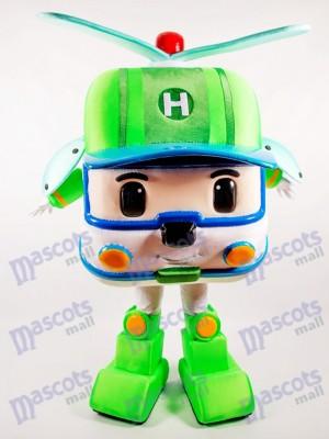 Dessin animé de costume de mascotte de voiture robotique vert