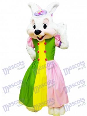 Lapin de Pâques en dessin animé de costume de mascotte de robe colorée