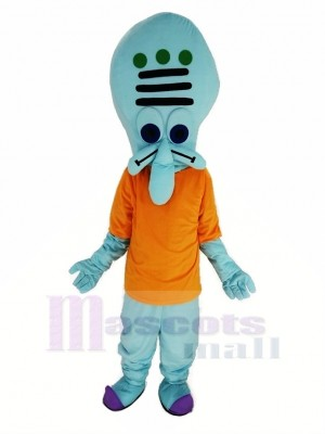 Squidward avec Orange T-shirt Mascotte Costume de Krusty Krab SpongeBob SquarePants