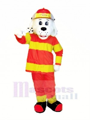 Sparky le Feu Chien avec Orange et Jaune Costume NFPA Mascotte Costume