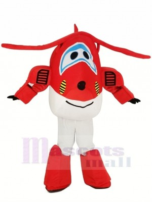 rouge Jet Airplane Jett Mascotte Costume Dessin animé
