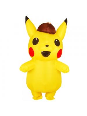 Jaune Pikachu avec Chapeau Gonflable Costume Air Coup en haut Cosplay Combinaison pour Adulte/enfant