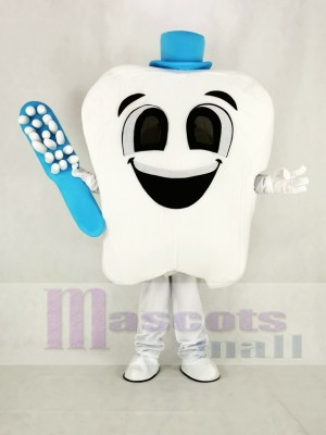 Dent avec Bleu Chapeau Mascotte Costume Dessin animé