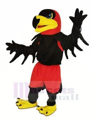 Noir Nuit faucon avec rouge Un pantalon Mascotte Costume