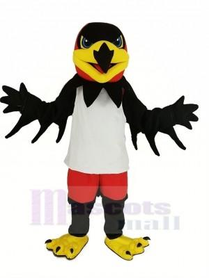 Noir Nuit faucon avec blanc Gilet Mascotte Costume