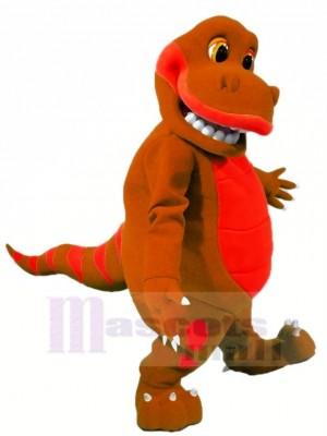 marron Dinosaure Mascotte Costume Dessin animé
