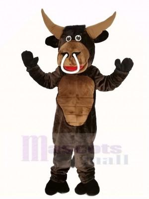 marron Muscle Taureau Mascotte Costume Animal