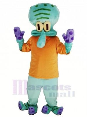 Squidward avec Orange T-shirt de Krusty Krab SpongeBob SquarePants Mascotte Costume