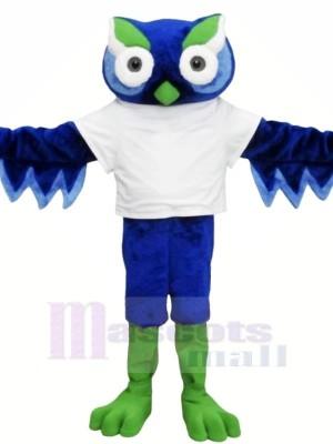Mignonne Bleu Hibou avec vert Sourcil Mascotte Les costumes Animal
