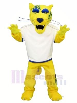 Jaune Jaguar avec blanc T-shirt Mascotte Les costumes