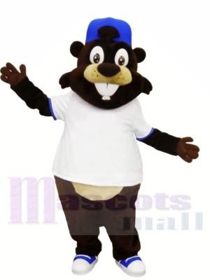 Souriant Castor avec blanc T-shirt Mascotte Les costumes Animal