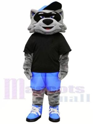 Cool Raton laveur avec Noir T-shirt Mascotte Les costumes Animal