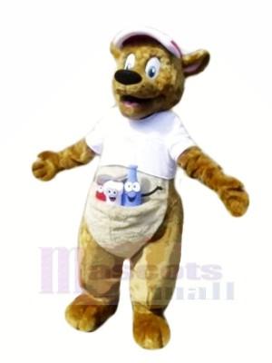 marron Kangourou avec blanc T-shirt Mascotte Les costumes