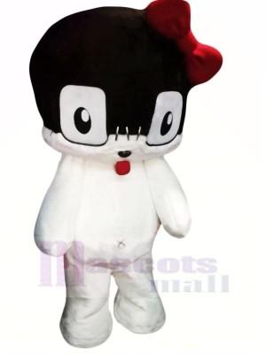 Charmant blanc Chat Mascotte Costume Dessin animé
