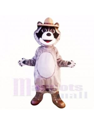 Gris Raton laveur avec Chapeau Costumes De Mascotte Dessin animé