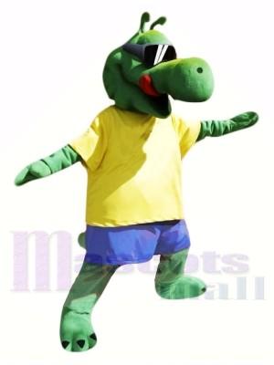 Cool Alligator avec Jaune T-shirt Mascotte Les costumes Animal
