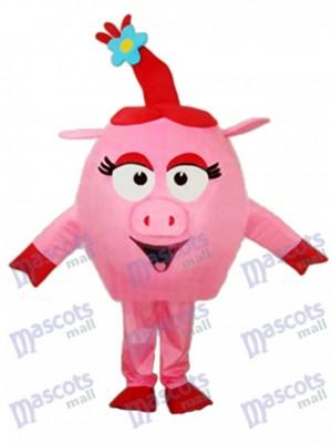 Déguisement de mascotte ronde de cochon rouge Animal