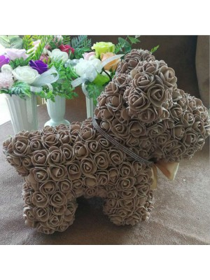 marron Rose Chiot Chien Fleur Chiot Chien Meilleur cadeau pour la fête des mères, la Saint-Valentin, les anniversaires, les mariages et les anniversaires