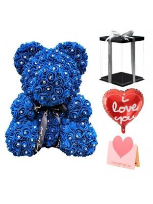 diamant Bleu royal Ours en peluche rose Fleur Ours Meilleur cadeau pour la fête des mères, la Saint-Valentin, les anniversaires, les mariages et les anniversaires