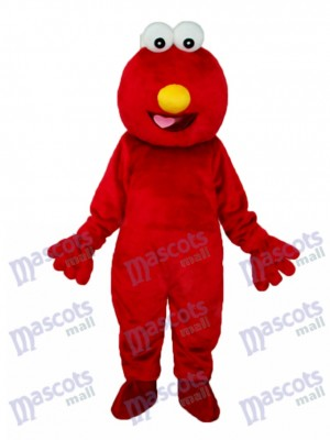 Long-haired Red Elmo Monster Mascot Adult Costume