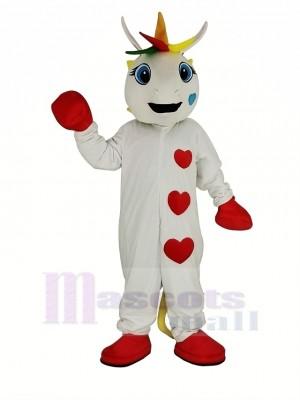 blanc Licorne avec Coloré klaxon Mascotte Costume Animal