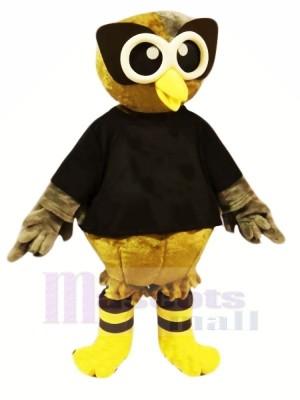 marron Hibou avec Noir T-shirt Mascotte Les costumes Dessin animé