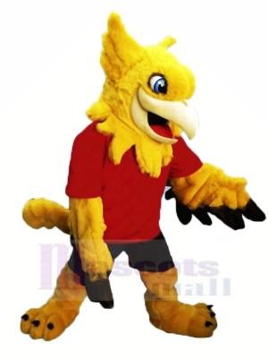 Jaune Gryphon avec rouge T-shirt Mascotte Les costumes