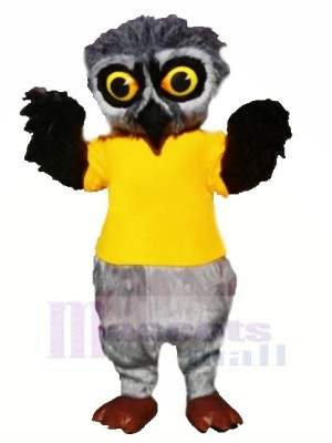 Gris Velu Hibou avec Jaune T-shirt Mascotte Les costumes