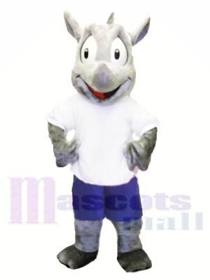 Costume de mascotte de sport Robert Rhino Costume De Mascotte Pour Adulte