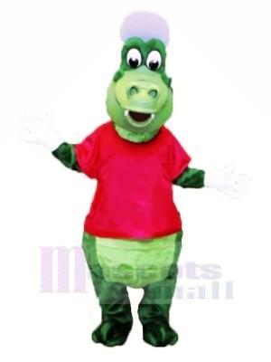 sport Alligator avec rouge T-shirt Mascotte Les costumes Dessin animé