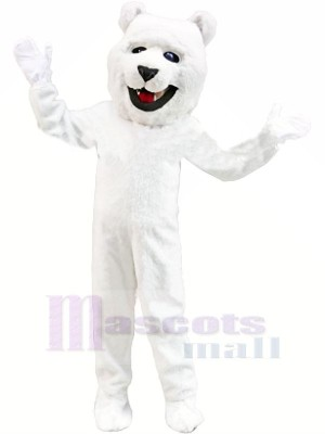 blanc Polaire Ours Mascotte Les costumes Adulte