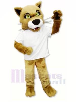 marron Chat sauvage avec T-shirt Mascotte Costume Dessin animé