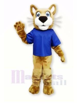 marron Chat sauvage avec Bleu T-shirt Mascotte Les costumes