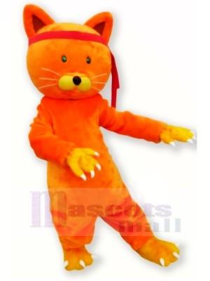 Mignonne Orange Chat Mascotte Les costumes Dessin animé