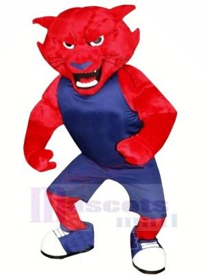 rouge Léopard Mascotte Costume Dessin animé