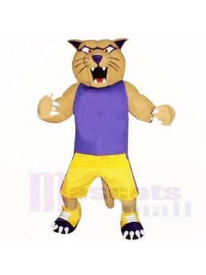 Cougar de sport avec une chemise violette Costumes de mascotte Cartoon