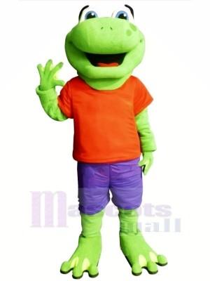 La grenouille avec Orange T-shirt Mascotte Les costumes