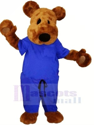 marron Nounours Ours avec Bleu Costume Mascotte Les costumes Animal