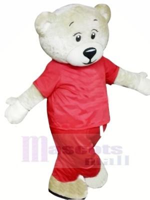 blanc Ours avec rouge Costume Mascotte Les costume