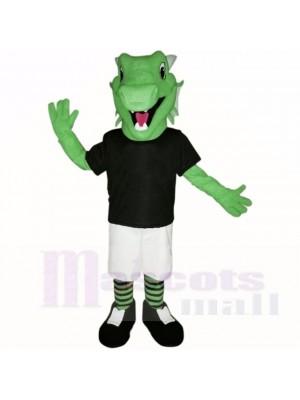 vert Poids léger Dragon avec Noir Chemise Costumes De Mascotte École